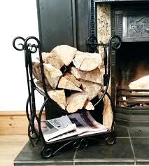 fireplace log holders black wrought iron indoor log rack storage carrier fire wood in home furniture