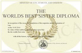 the worlds best sister diploma