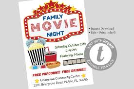 Free Movie Night Flyer Templates Family Movie Night Flyer Editable Template Movie Night Flyer Instant Download School Pta Church Movie Party Flyer Pto Fundraiser Flyer