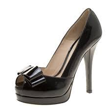 fendi black patent leather deco p toe bow platform pumps size 38 nextprev prevnext