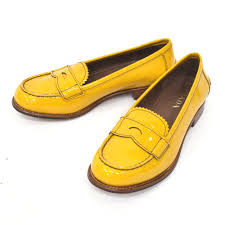 prada enamel loafer leather shoes 1d5654 506 mimosa mimosa yellow size 34 1 2