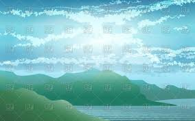 Serene Seashore Landscape With Hills Vector Illustration Of