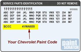 Chevrolet Touch Up Paint Color Code And Directions For