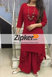 Dhoti Kurti Design For Girl Cotton Maroon Plain Semi Stitched Dhoti Style Kurti Plain