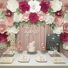 Pink Paper Flower Decorations Pink Paper Flower Backdrop Dessert Table Ideas Decor
