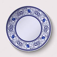 Floral Plate Design Plate With A Wide Floral Design Border In The Style Of Gzhel