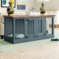 Wood dog crates furniture Attractive Dog Damien Double Wide Small Credenza Pet Crate Wayfair Dog Crate Furniture End Tables Youll Love Wayfair
