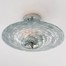 tornado art glass ceiling light in a gray blue and clear glass swirl pattern art glass lighting fixtures