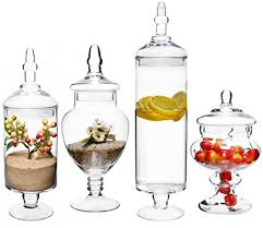 set of 4 large classic clear glass lid apothecary jars candy buffet wedding centerpiece mygift home