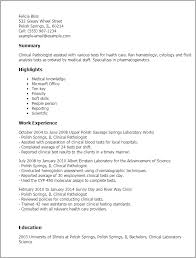 Clinical Pathologist Sample Resume