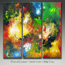 items similar to fires of creation inch original contemporary abstract triptych painting by sally trace on