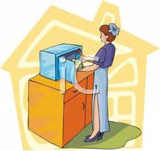 microwave clipart. a woman cooking food at microwave clipart picture