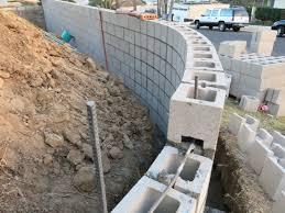radius concrete block wall