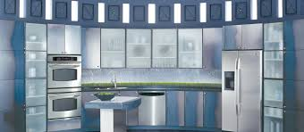 stainless steel kitchen design with frosted glass door cabinet