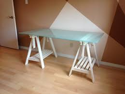 medium size ikea glass desk top adjule white trestle legs uk glasholm table l large size