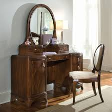Dressing Mirror Cabinet Vintage Brown Lacquer Solid Wood Dressing Table With Oval Mirror