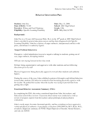 behavior intervention plan template behavior modification plan template