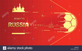 16 9 Template Golden 2018 World Championship Football Cup On Red Background 16 9