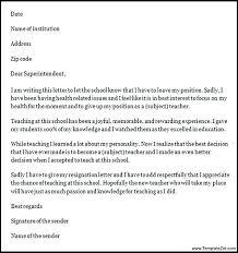 Resignation Letters For Teachers Letter Teacher Job Format Sample