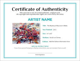 Art Authentication Certificate Template Certificate Of Authenticity