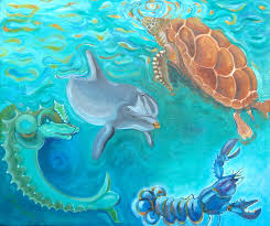sea life painting by thierry keruzore