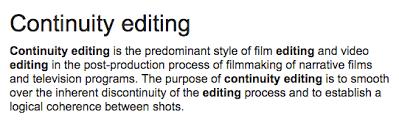 Continuity Editing As Media Studies
