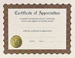 Amazon Com Great Papers Certificate Of Appreciation Pre Printed