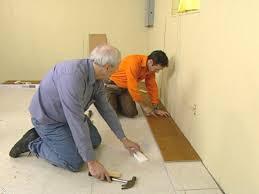 start installing floor in one corner