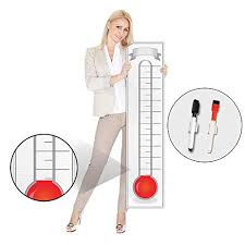 Goal Setting Fundraising Thermometer Chart 48x11 Giant Progress Meter Board Corrugated Plastic Company Sales Milestone Tracking Wall Charts