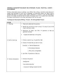 Sample Descriptive Essay On A Person Mistyhamel