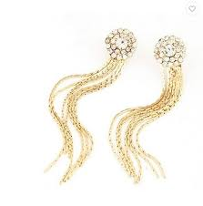 Jewel Touch Golden <b>Gold Color Long Tassel</b> Earring, Size: 7, Rs ...