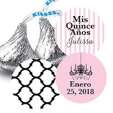 mis quince anos hershey kiss stickers for party favors chandelier quatrefoil
