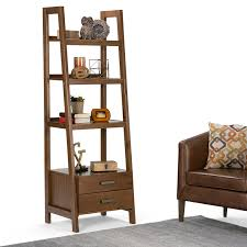 Amazon.com: Simpli Home Sawhorse Ladder Shelf Bookcase with Storage, Medium  Saddle Brown: Kitchen & Dining