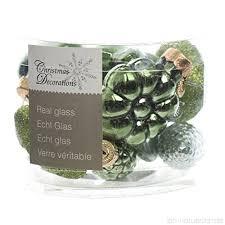 Weihnachtskugeln Christbaumschmuck Grün Mix Zapfen Blüten