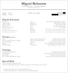 Resume For Beginners Actor Resume Example X Actor Resume Sample Doc