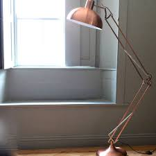 copper angled floor lamp on trend copper