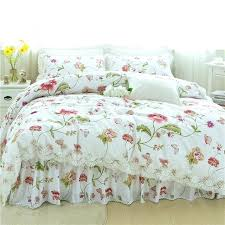 white duvet cover queen summer pink flowers white bedding sets queen king double twin size cotton bed skirt duvet cover sheet pillow cases off white cotton