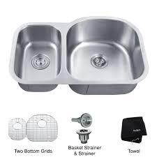 kraus kbu25 32 inch undermount 60 40 double bowl 16 gauge stainless steel kitchen sink expressdecor com