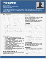 Payroll Accountant Resume Format Professional Resume Templates