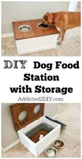 Download the free plans and tutorial for this DIY Dog Food Station with  Storage underneath.