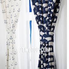 Whales And Anchor Mediterranean White And Dark Blue Fun Casual Living Room  Nautical Curtains