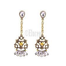 brilliant party wear chandelier earrings yellow stone