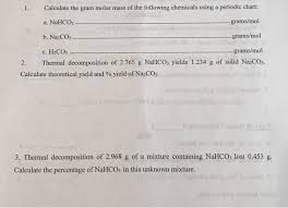Solved Calculate The Gram Molar Mass Of The Following Che