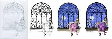 window pencil drawing. moonlit window process. pencil sketch drawing