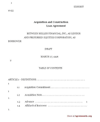 Family Loan Template Family Agreement Template Acquisition And Construction Loan