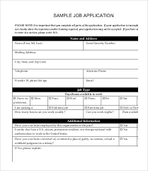 Printable Sample Job Applications Printable Job Application Template 10 Free Word Pdf Documents