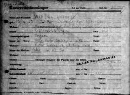 elie wiesel elie wiesel cons the world elie wiesel a blog the buchenwald file card that shows lazar wiesel born 9 4 1913