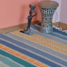 handwoven wool rug area rug floor rug kilim rug home decor rug blue and green palette orange and yellow ornaments stripes wool rug