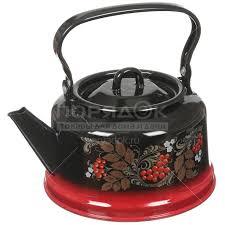 <b>Чайник эмалированный</b> Сибирские товары декор красно-черный ...