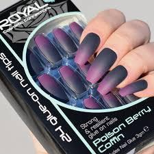 Royal Fialovo černé Matné Umělé Nehty Sada S Lepidlem Poison Berry Coffin False Nails 24ks A Lepidlo